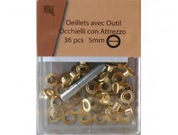 Oeillets avec rondelles 5 mm - Doré