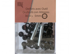 Œillets avec rondelles 5 mm - Bronze