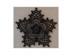 Écusson thermocollant fleur en dentelle noire