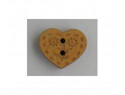 Bouton coeur en bois naturel