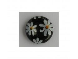 Bouton noir à fleurs blanches