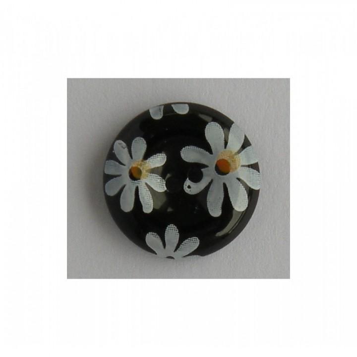 Bouton noir à fleurs blanches 15 mm