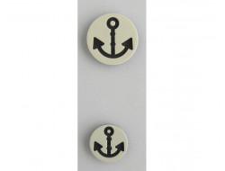 Bouton ancre marine sur fond blanc 15 et 20 mm