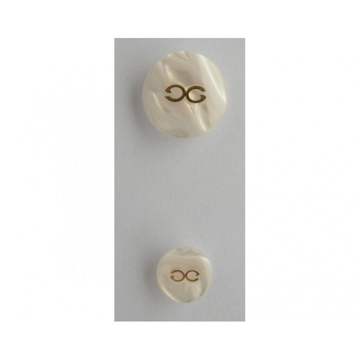 Bouton blanc cassé haute couture 15 et 22 mm