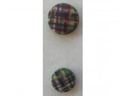 Bouton carreaux, vert, violet