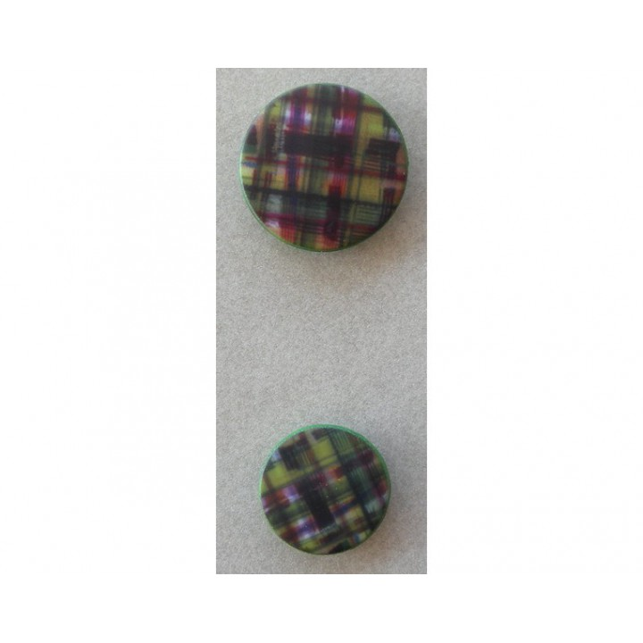 Bouton carreaux, vert, violet 18 et 23 mm