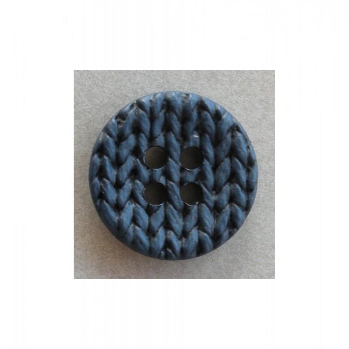 Bouton effet tricot, bleu 25 mm