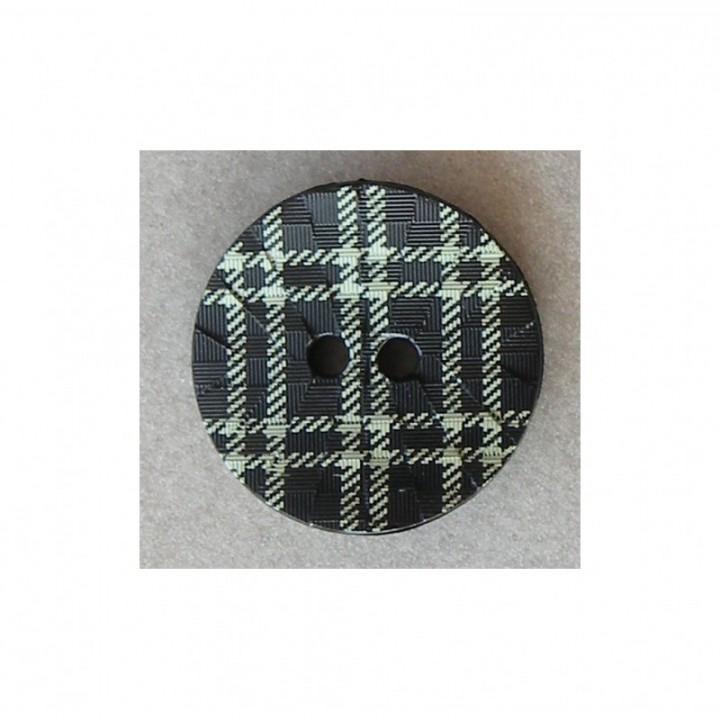 Bouton à carreaux vert anis sur fond noir 20 mm