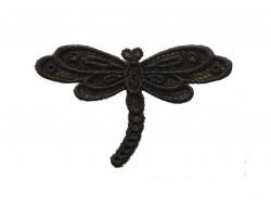 Ecusson thermocollant libellule noire