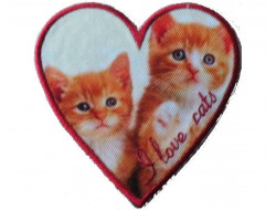 Ecusson thermocollant Coeur  chatons
