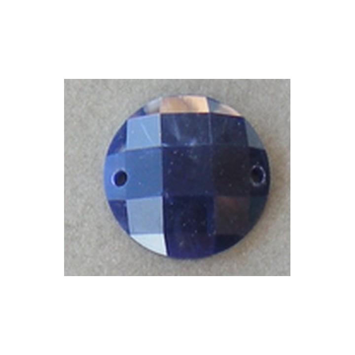 Strass, pierre à coudre rond bleu 18 mm