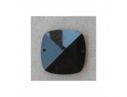 Strass, pierre à coudre carré noir 24 mm
