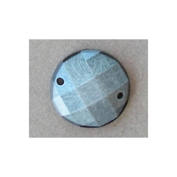 Strass, pierre à coudre rond gris bleu 18 mm