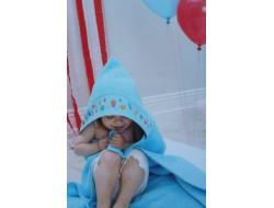 Sortie de bain avec capuche à broder Bleue RICO