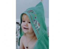 Sortie de bain avec capuche à broder Verte RICO