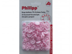 Boutons pression plastique rose forme ronde 12,4 mm