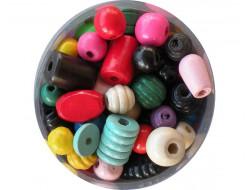 Mélange de perles en bois multicouleur