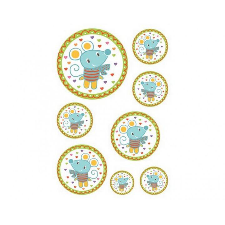 Sticker textile médaillon souris
