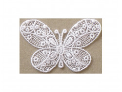 Ecusson thermocollant papillon dentelle blanc
