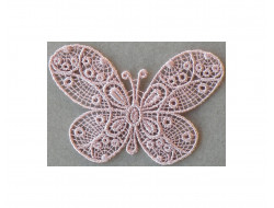 Ecusson thermocollant papillon dentelle vieu rose