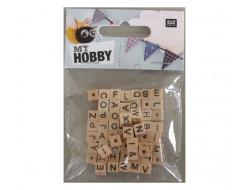 Perles en bois cubes, alphabet, non arrondis