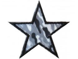 Ecusson thermocollant étoile treillis blanc