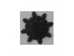 Ecusson thermocollant fleur en dentelle noire