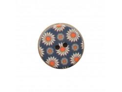 Bouton bleue à fleurs 15 mm