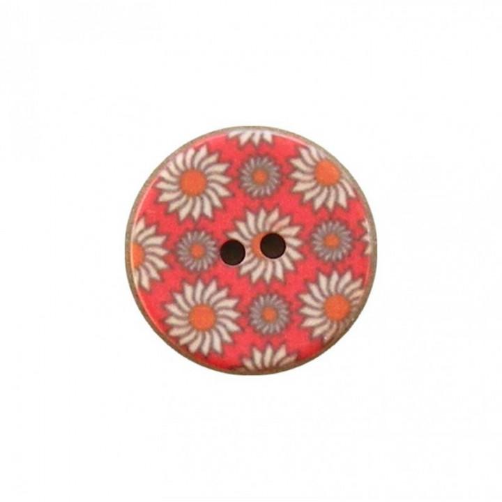 Bouton rouge à fleurs 15 mm