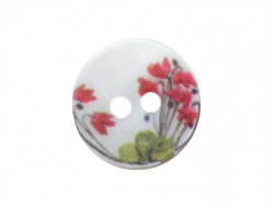 Bouton nacre blanc coquelicot 12mm