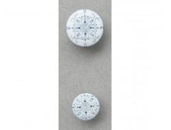 Bouton blanc arabesques bleu 15 et 20 mm