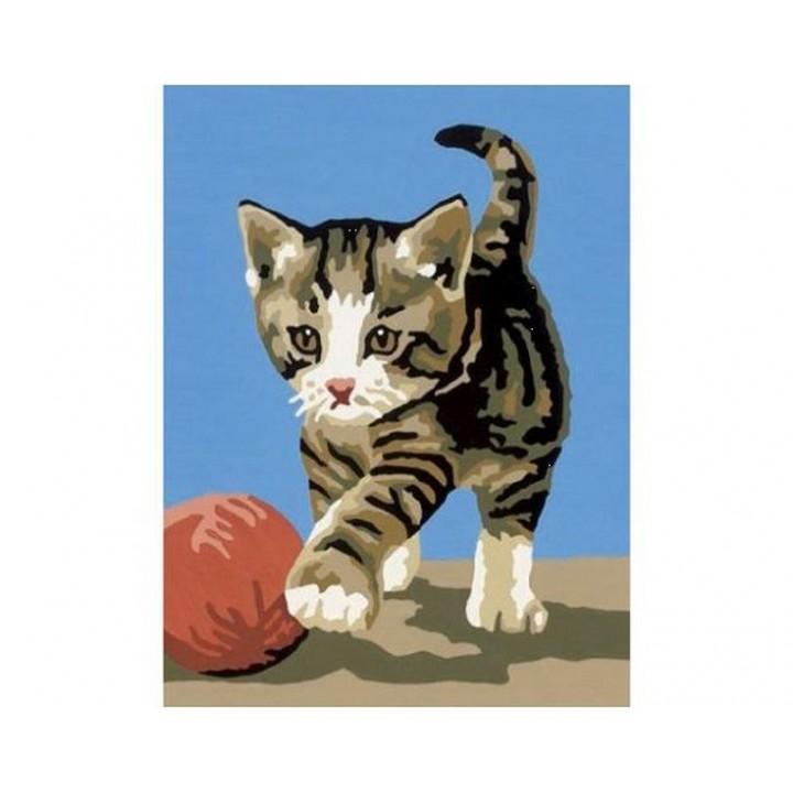 Kit canevas Chaton avec une balle