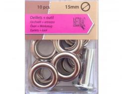 Oeillets avec rondelles 15 mm - Argent
