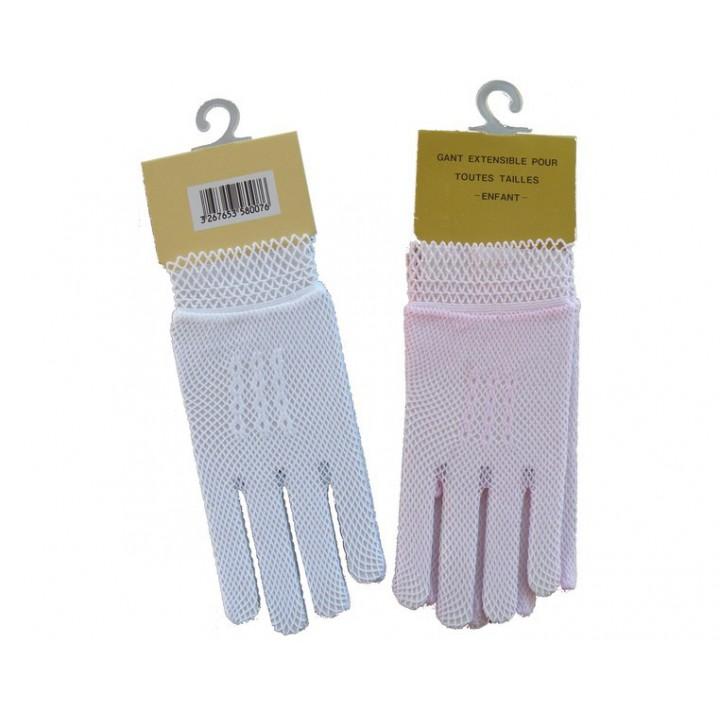 Gants extensible blanc ou rose pour enfant