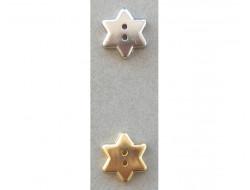 Bouton étoile argent ou doré 15 mm
