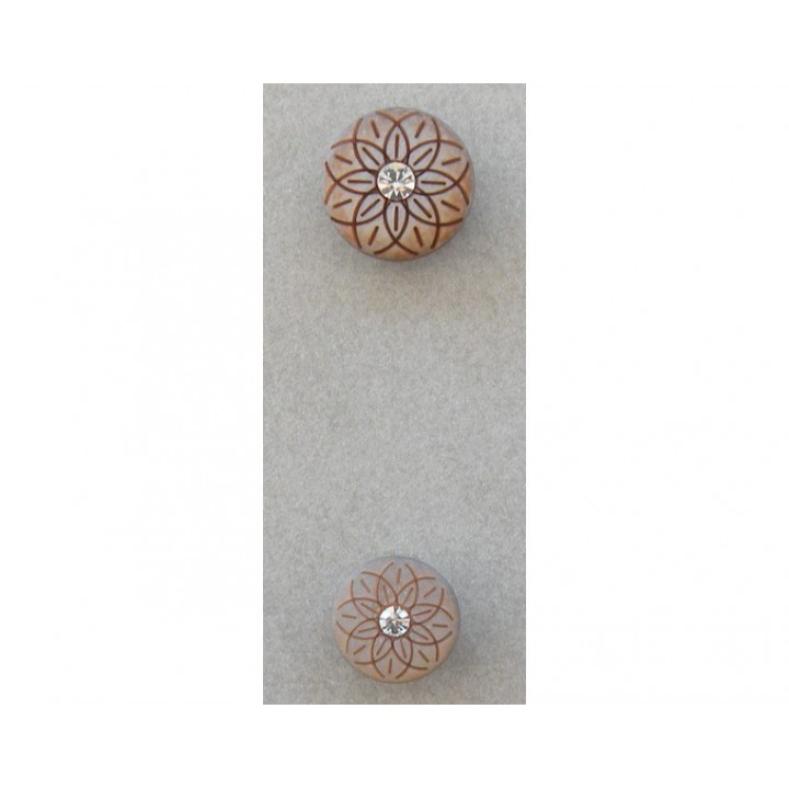 Bouton beige or strass