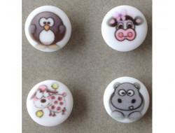 Bouton animaux Oiseau, vache, hippopotame, mouton