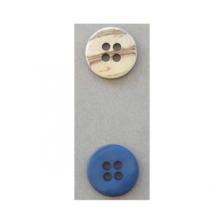 Bouton classique bleu ou beige 28 mm
