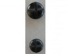 Bouton effet cuir noir 22 et 27 mm