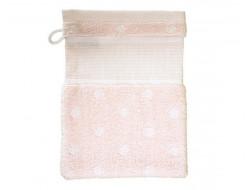 Gant de toilette Rose poudre à pois blanc RICO