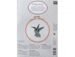 kit de broderie colibri, oiseau, point de croix compté, Rico