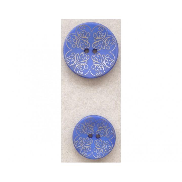 Bouton bleu arabesque doré 18 et 23 mm