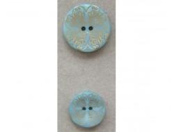 Bouton vert arabesque doré 18 et 23 mm