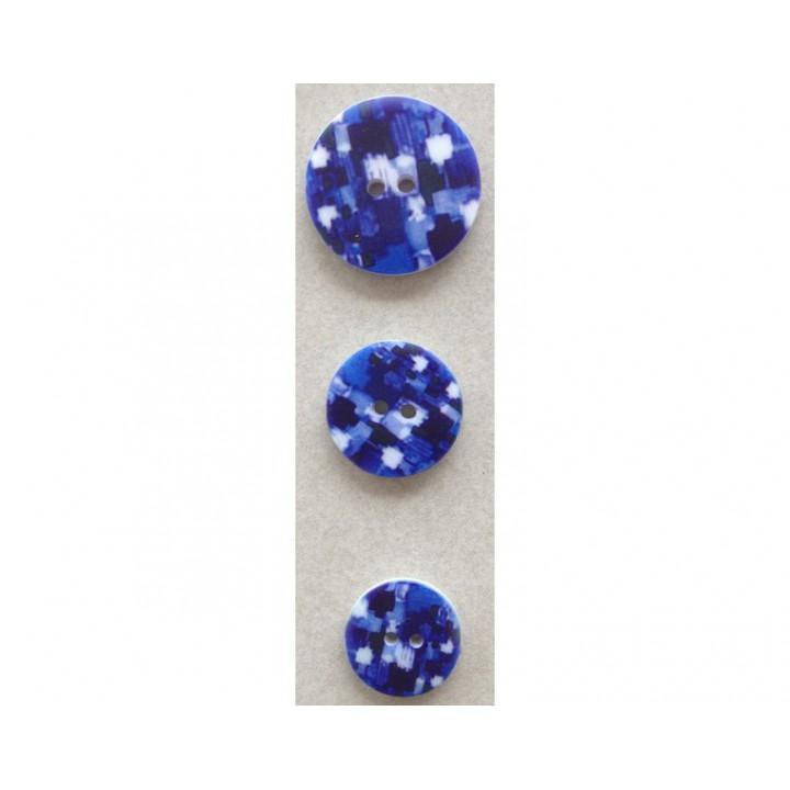 Bouton bleu fantaisie 15, 18 et 23 mm