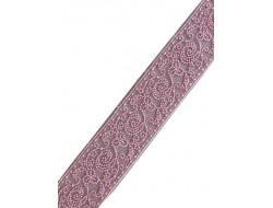 Dentelle entre deux tulle brodé rose 27 mm