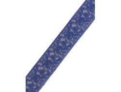 Dentelle entre deux tulle brodé bleu 27 mm