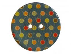 Bouton coco à pois bleu 30 mm