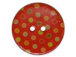 Bouton coco à pois rouge 30 mm