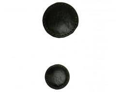Bouton effet cuir noir 22 et 34 mm