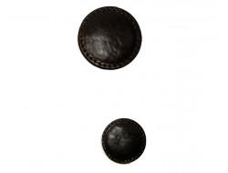 Bouton effet cuir marron foncé 22 et 34 mm